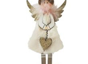 Fluffy Angel Standing Decoration - White