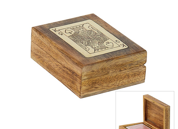 Mango & Brass Box with Playing Cards