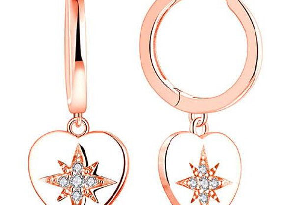 Susan Rose - Solid Heart Star Rose Gold Earring