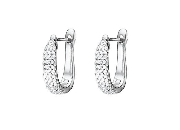 Sterling silver pave set oval hoop earring