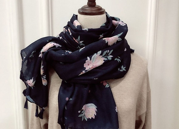 Lilly Co - Navy Bright Pink Floral Scarf