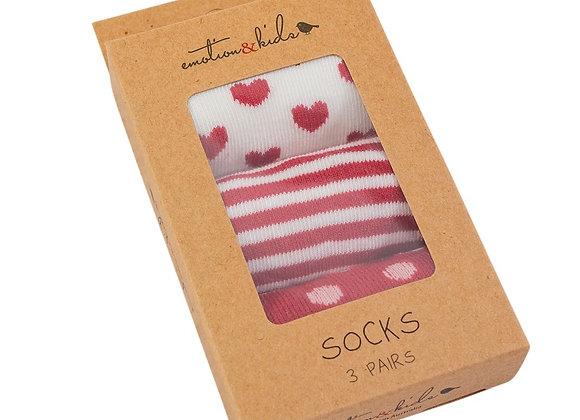 Emotion & Kids - Red Stripe Spots & Heart Sock Pack