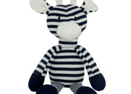 Knitted Giraffe - Navy White Stripe