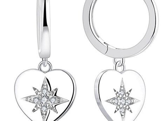 Susan Rose - Sterling Silver Solid Heart Star Earring