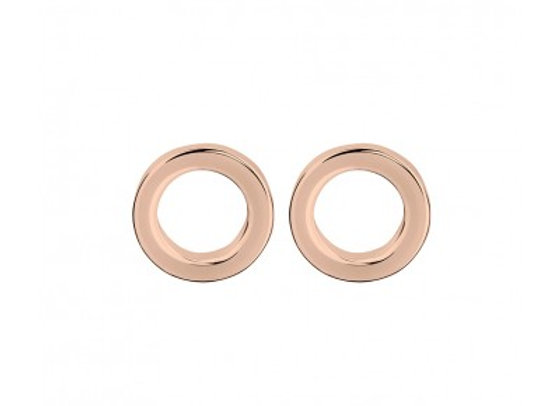 Sterling silver rose gold plated open circle stud earring - 6mm