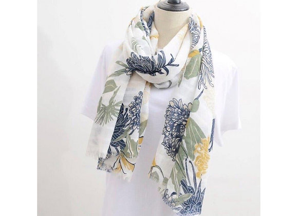 LillyCo - White Blue Green Leaf Scarf
