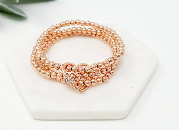 Lilly Co - Rose Bead 3 Strand and Ring Bracelet