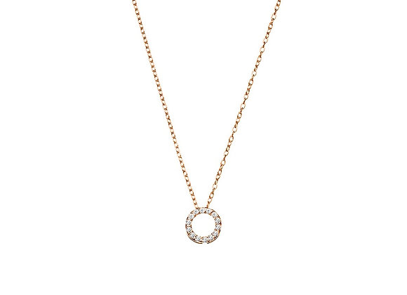 Sterling Silver Rose Gold Plated CZ circle necklace