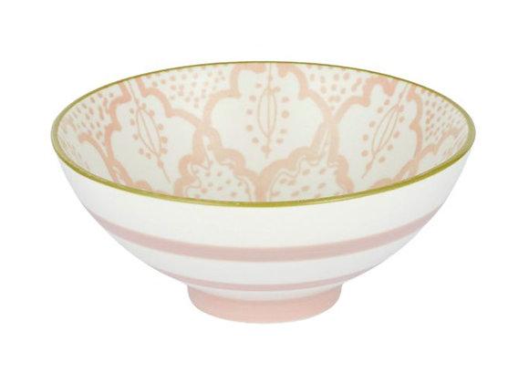 Ceramic Bowl Pink/Green - 12x12x5cm