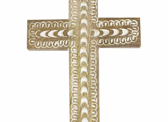 White wash wooden cross  small