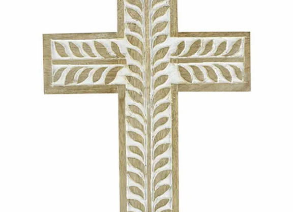 White wash wooden cross  large