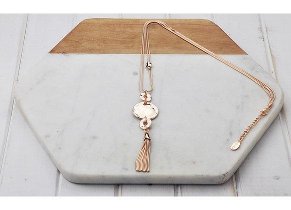 Lilly Co - Rose Battered Disk Tassel Necklace