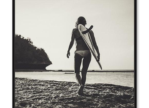 Surf Girl Artwork - B/W  - 100x100
