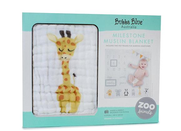 Bubba Blue - Zoo Animal Milestone Blanket