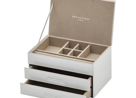 White Medium Jewellery Box - 3 tier