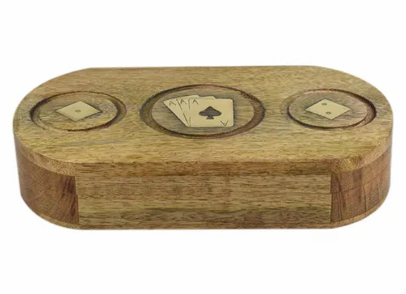 Natural & Gold Wooden Box with Dice & Cards