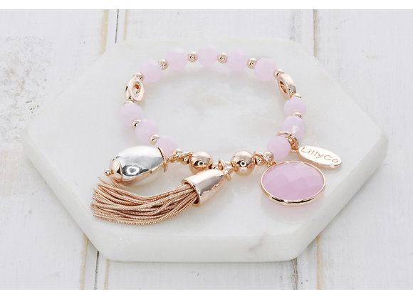 Lilly Co - Pink Tassel Ball Stone Bracelet
