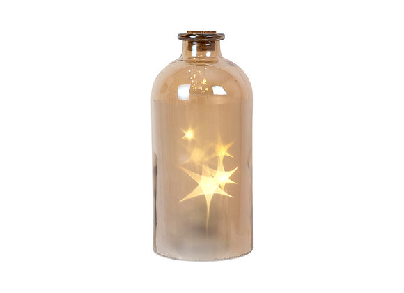 Glass Amber Bottle - LED Star -small