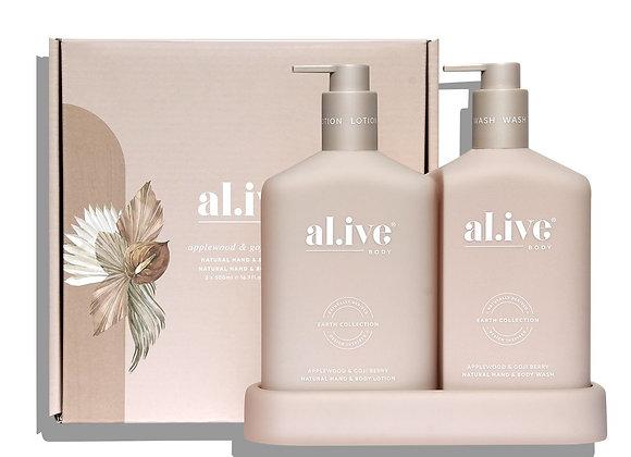 al.ive - Wash & Lotion Duo & Tray - Applewood & Goji Berry