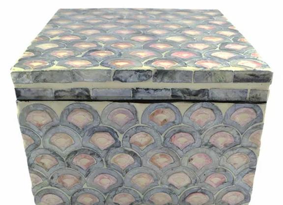 Inlay Trinket Box  Pink/Grey/Cream