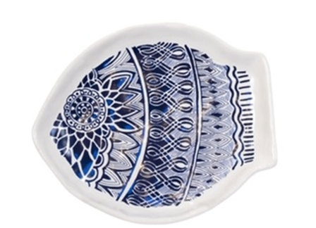 Blue White Ceramic Fish Plate Wide