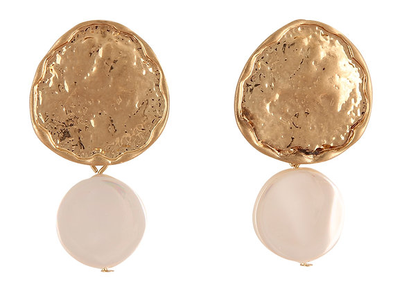 Metal Earring with Shell Drop