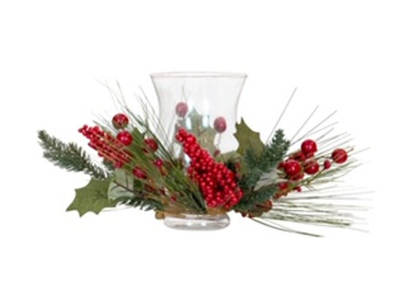 Berry Wreath with Glass Hurricane -small