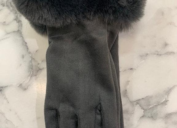 Glove fur trim - Grey