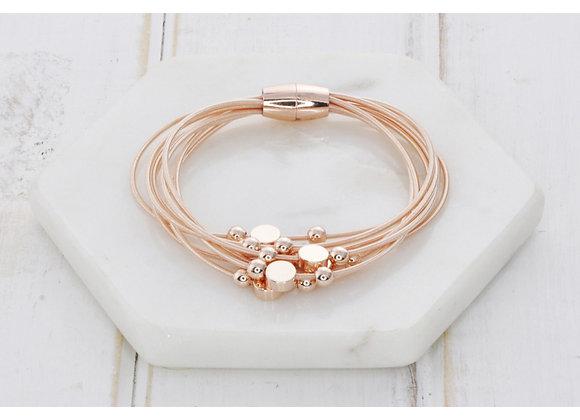 Lilly Co - Multi Strand Rose Gold Disk Bracelet