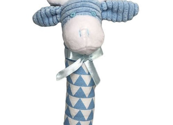 Giraffe Stick Squeaker Rattle - Blue
