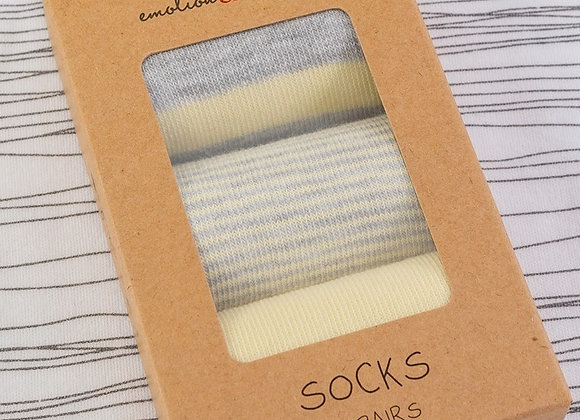 Emotion & Kids - Lemon & Grey Striped  Socks 3 pack  size 0-3 months