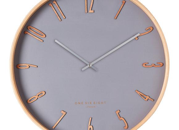 Timber Framed Grey Wall Clock