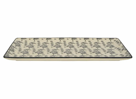 Black/White Ceramic Print Rectangular Plate