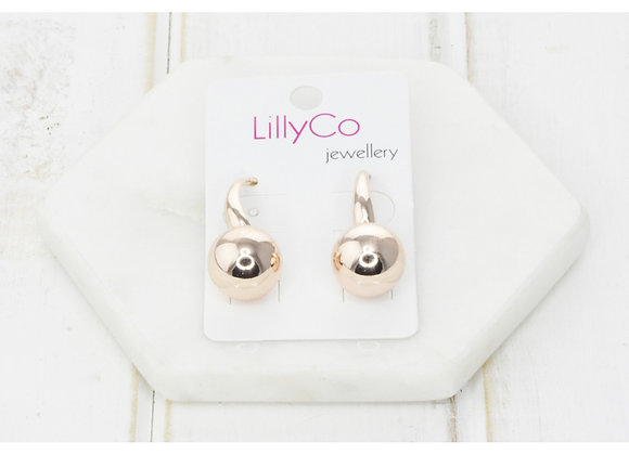 LillyCo - Rose Gold Drop Ball Earring