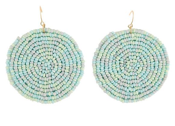 Beaded Circle Blue Earring