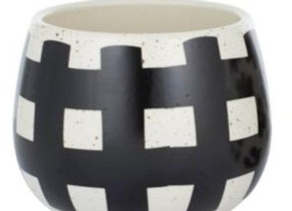 Black/White Cross Ceramic Pot