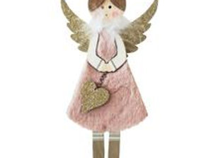 Fluffy Angel Standing Decoration - Pink 24cm