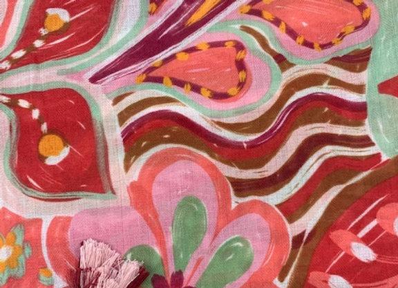 Scarf - Pink/Khaki Multi Print with tassel