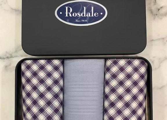 Rosdale Tin Pack of 3 Mens Hankies