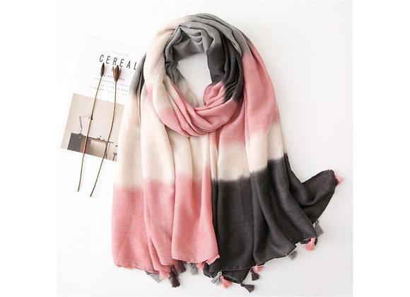 LillyCo - Pink Grey &  White Stripe Tassel Scarf
