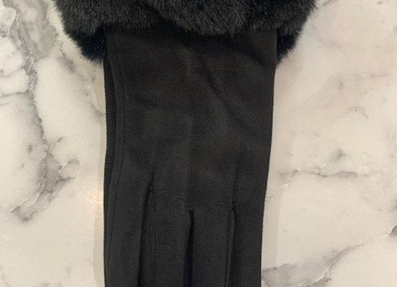 Glove fur trim - Black