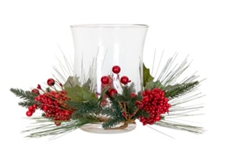 Berry Wreath with Glass Hurricane - large
