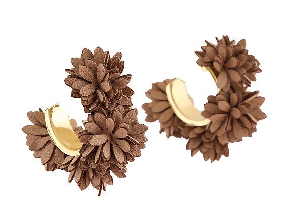Brown Fabric & Metal Earrings