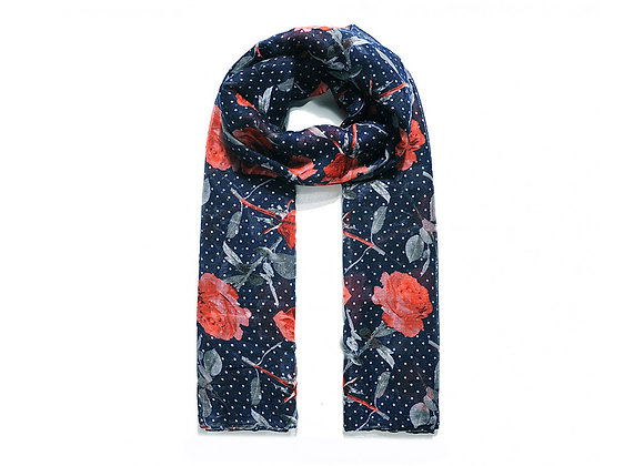 Lilly Co - Navy Dotty Rose Scarf