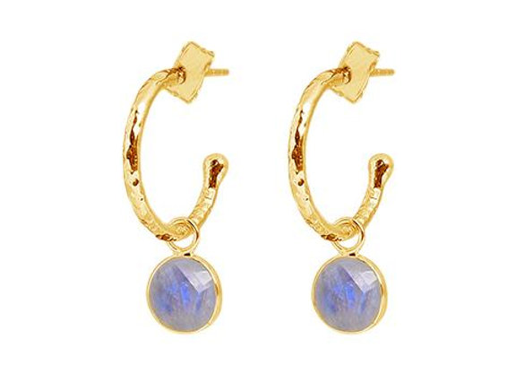 Susan Rose - Soho Gold Hoops - Moonstone