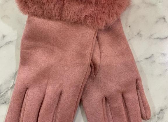 Glove fur trim - Pink