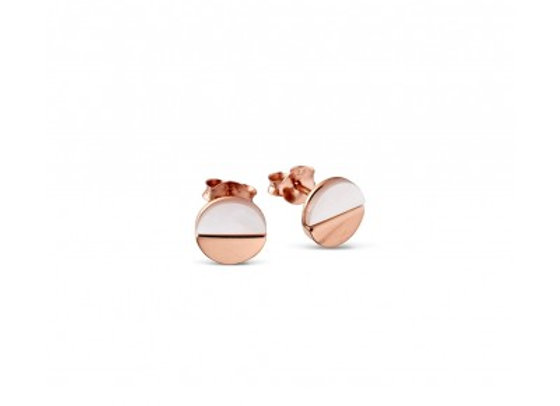 Sterling silver mother of pearl/rose gold disc stud earrings