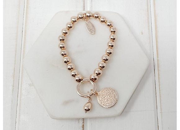 Lilly Co - Rose gold disk on ring bracelet
