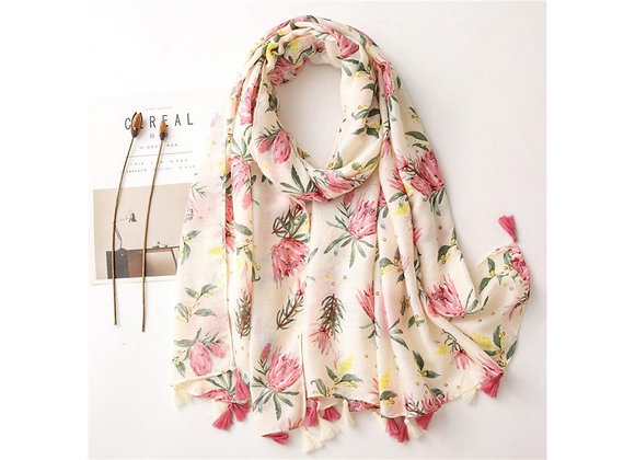 LillyCo - White & Pink Protea Tassel Scarf