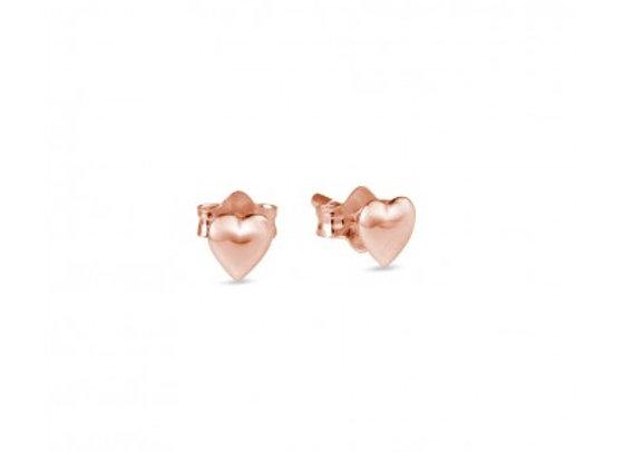Sterling Silver Rose Gold Heart Stud Earring - 5mm